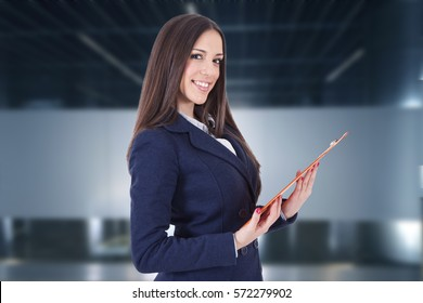 business woman or hostess of congresses and meetings