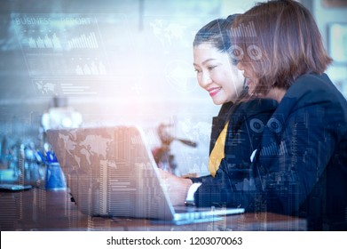 Business Woman Investment Advisory Team Analyzes the company's Annual financial Statements.Balance Sheets work with graph Papers. Tax audit ,Return on investment analysis