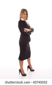 business woman isolated on white with a powerful pose