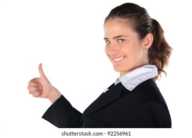 Business woman. Isolated on the white background