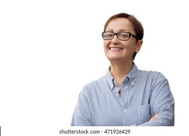 Business woman isolated white background. Middle aged woman smiling and looking at camera. Portrait of female wearing glasses and shirt. Successful entrepreneur, teacher, manager, adviser, consultant