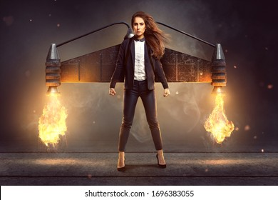 Business woman with a jetpack is ready to start