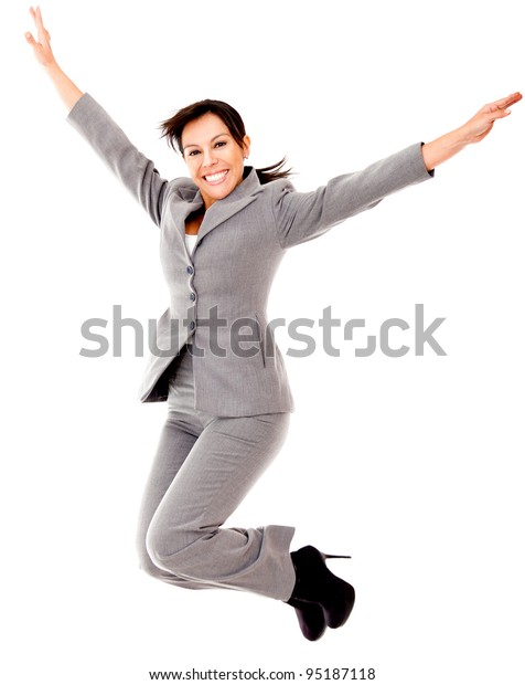 Business woman jumping - isolated over a white background