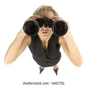 business woman with large binoculars