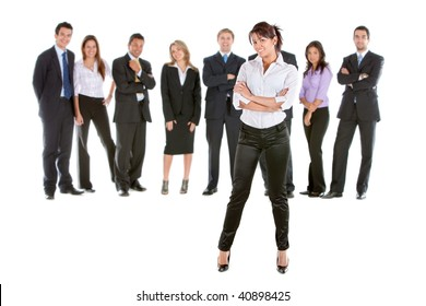 Business woman leading a group isolated over a white background