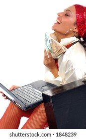 Business woman in lingerie sitting on floor with laptop and money in briefcase