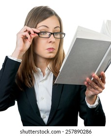 business woman looking at the open book