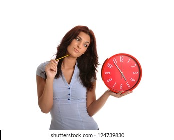 Business woman looking to the time that does not pass!