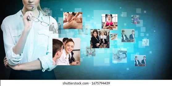 Business woman looks on images with her different hobbies besides work.