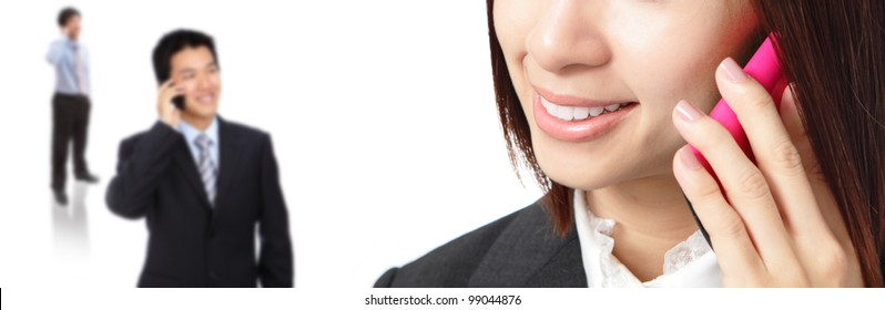 Business woman and man communication by mobile phone isolated on white background, model group are asian
