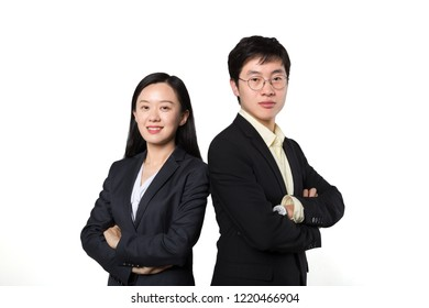 Business woman and business man stood before white backgrounds