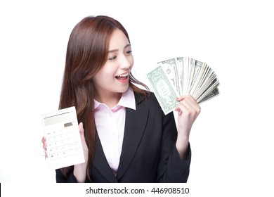 business woman with the money and computer calculator, asian