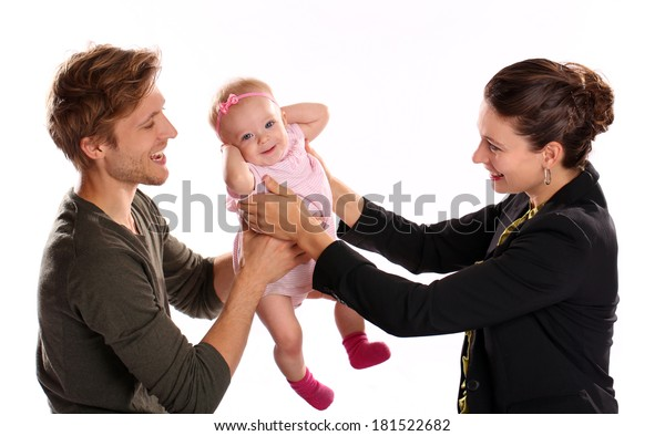 Business Woman Mother Handing Child Stay Stockfoto Jetzt