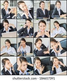 Business woman multitasking
