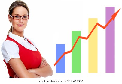 Business woman near chart. Isolated on white background.