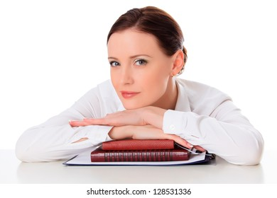 Business woman with notebooks against white background