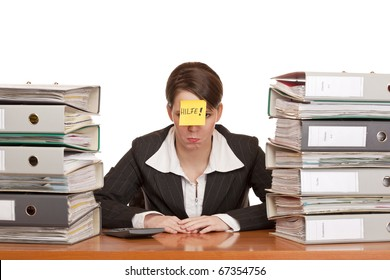 business woman in office between folder stacks needs help. Isolated on white background.