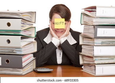 business woman in office ist desperated and cries. Isolated on white background.