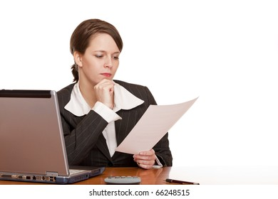 business woman in office looks concentrated at contract. Isolated on white background.