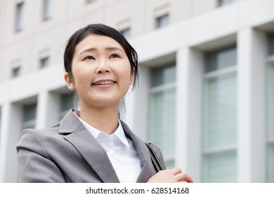 Business woman, office town
