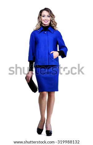 cd25f7cb26f Business Woman Official Clothes Blue Suit Stock Photo (Edit Now ...