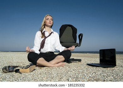 Business woman on the beach