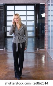 Business woman on a cell phone in a modern office