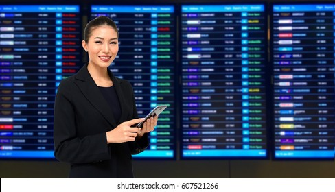 Business woman on Display of Stock market quotes backgrounds.