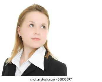 Business woman on a white background turned back.