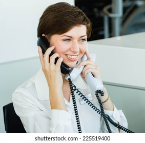 business woman on work place in office