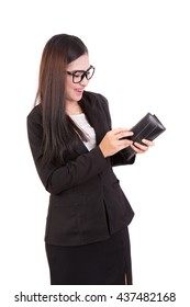 business woman open wallet and happy