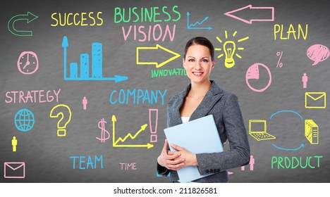 Business woman over conceptual  screen background