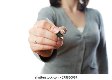 Business woman with pen on white background.