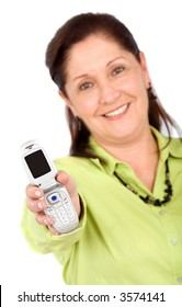 business woman with a phone on her hand - isolated on white
