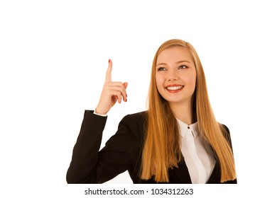 Business woman point in copy space isolated over white background - business  presentation or advertisement