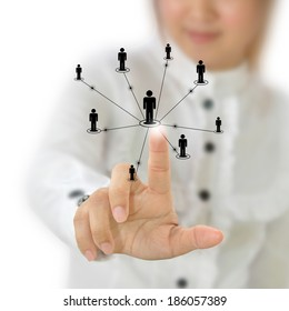 Business woman pointing at business concept icon.