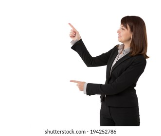 Business woman pointing at copy space, isolated on white