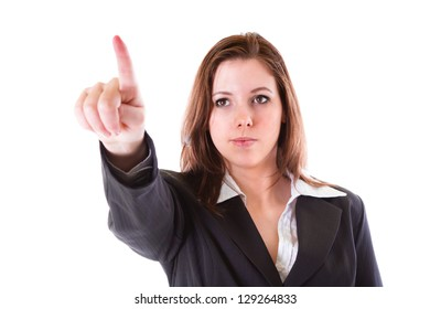 Business woman with pointing finger isolated over white