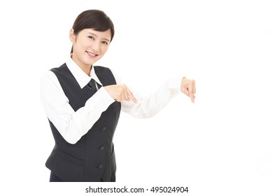Business woman pointing with her fingers