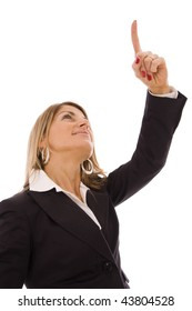 Business woman pointing up with his finger