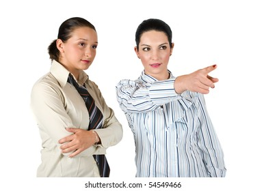 Business woman pointing  for show something towards white background to her colleague