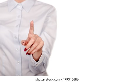 Business woman with pointing to something or touching a touch screen on white background. Business woman pointing finger at you, isolated on white.