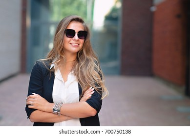 Business woman portrait in the city