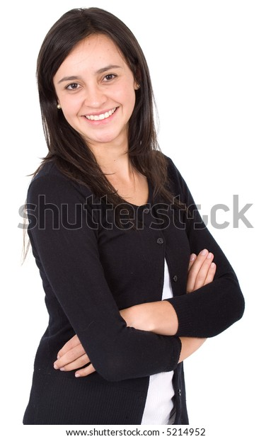 business woman portrait - isolated over a white background