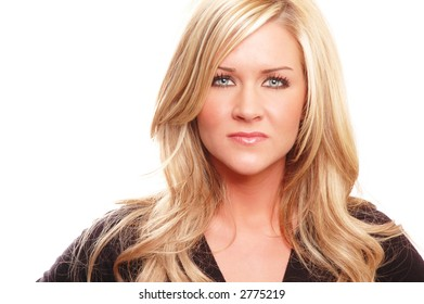 business woman posing against white background