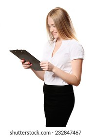business woman posing with a clipboard in the white background