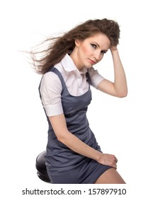 Business woman posing, isolated
