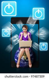 Business woman and power icon from mobile phone : Elements of this image furnished by NASA