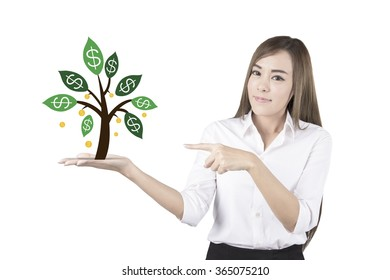 Business woman presenting a  graphic money tree. Isolated on white background.