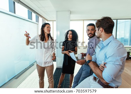 business woman presenting business plan her stock photo edit now